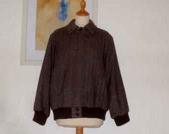 Vintage herrringbone tweed blouson jacket 1970s St Michael, England - UK 14 US 10-12