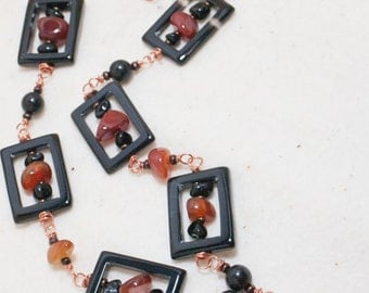 Bold Stone Necklace Carnelian Spiral Pendant Black Agate Window Copper Art Necklace Orange Black Necklace - Window of Fire - Art Jewelry