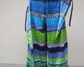 Vintage 1960s Pants / 60s Hawaiian Bark Cloth Wrap Pants / Small - Medium