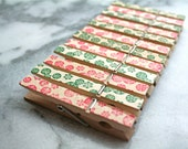 Decorative Christmas clothespins, set of 12 - red and green snowflake stamped pattern.  Hand stamped clothes pins.