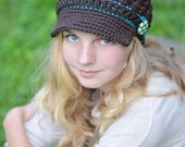 All Sizes Available Button Strap Newsgirl Newsboy Crocheted Hat in Coffee and Peacock with a fabric covered button