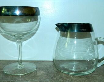vintage 1960s silver band glass pitcher Dorothy Thorpe goblet bowl dish