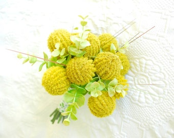 Billy Button Yellow Bouquet Made with Artificial Craspedia, Lemon Yellow Wedding Flowers