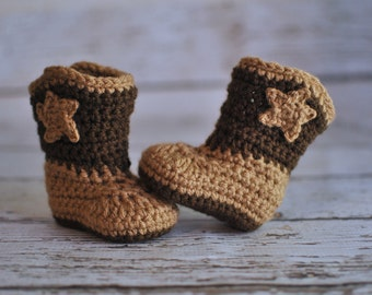 Baby Cowboy Boots, Crochet Baby Booties, Boy Booties, Girl Booties, Baby Booties, MADE TO ORDER, Newborn to 12 Months