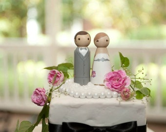 Custom Wedding Cake Toppers - Hand Painted Wood Peg Cake Toppers