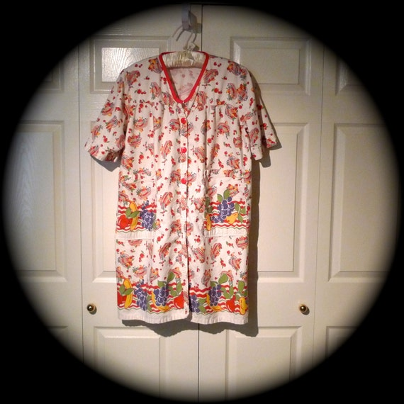 Cherry Smock Mexican Theme Shirt Sombrero Fruit Border Print Work Shirt Painters Smock housecoat robe tunic artist smock 50's FREE US SHIP