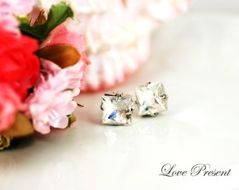 Supreme Classic Elegant Swarovski Crystal Princess Cut Square Earrings stud - Perfect for Wedding or Prom Party - Gift for your love