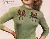 1940s Love Birds Jumper in Fairisle - vintage knitting pattern PDF (463) Bestway A 2063