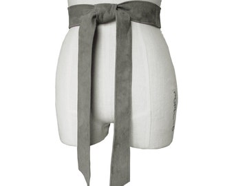 Classic Leather Belt -  Dress belt - Tie Belt Soft leather - Gray -  Suede coat belt   Xsmall -small - medium - large - Xlarge made to order