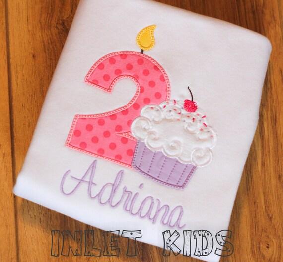 Girls Personalized Birthday Cupcake Ruffle Shirt (Numbers 1-6)