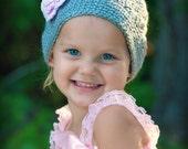 Crochet Girls Hat - Baby Hat - Toddler Hat - Winter Hat - Light Gray (Grey) Hat - Pink Flower with Rhinestone - in sizes Newborn to 3 Years