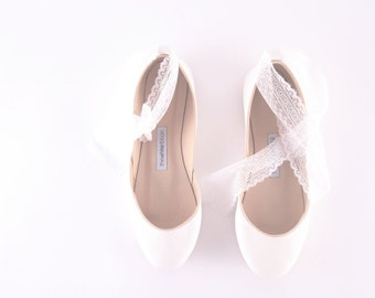 handmade leather white ballet flats | bridal flats | wedding shoes | white lace...made to order