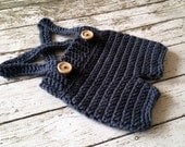 Crochet Baby Shorts/Pants with Suspenders- Diaper Cover in Denim Blue Newborn to 6 Month Size- MADE TO ORDER