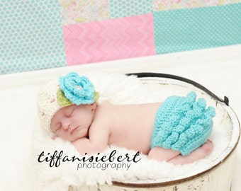Ashlee Beanie & Matching Diaper Cover Set in Ecru, Teal and Celery Green Available in Newborn to 24 Months- MADE TO ORDER