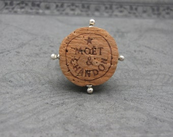 Champagne Cork and Sterling Silver Ring Moet and Chandon