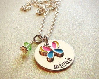 Custom Hand Stamped Little Girls butterfly or dragonfly necklace, personalized for you, ultimate birthday party gift!