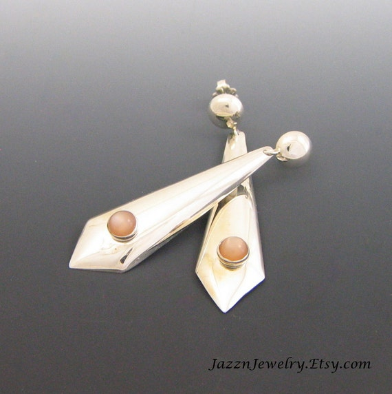 Peach Moonstone Dangles - Long Diamond Drops - Handmade Sterling Silver Earrings - Post Earrings - Clip Style Available - FREE SHIPPING