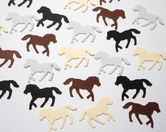 100 Black Ivory Gray Brown Horse punch die cut confetti scrapbook embelishments - No992