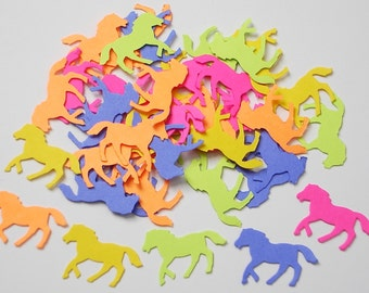 50 Bright Horse punch die cut confetti scrapbook embellishments - paper crafts and party supplies - No332