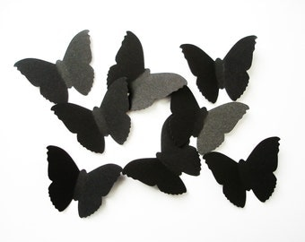 50 Large Classic Black Butterfly die cuts punch confetti scrapbook embellishments - No126