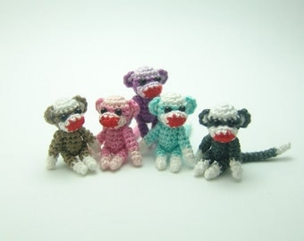 1 inch miniature colorful sock monkey - Tiny amigurumi crochet animal