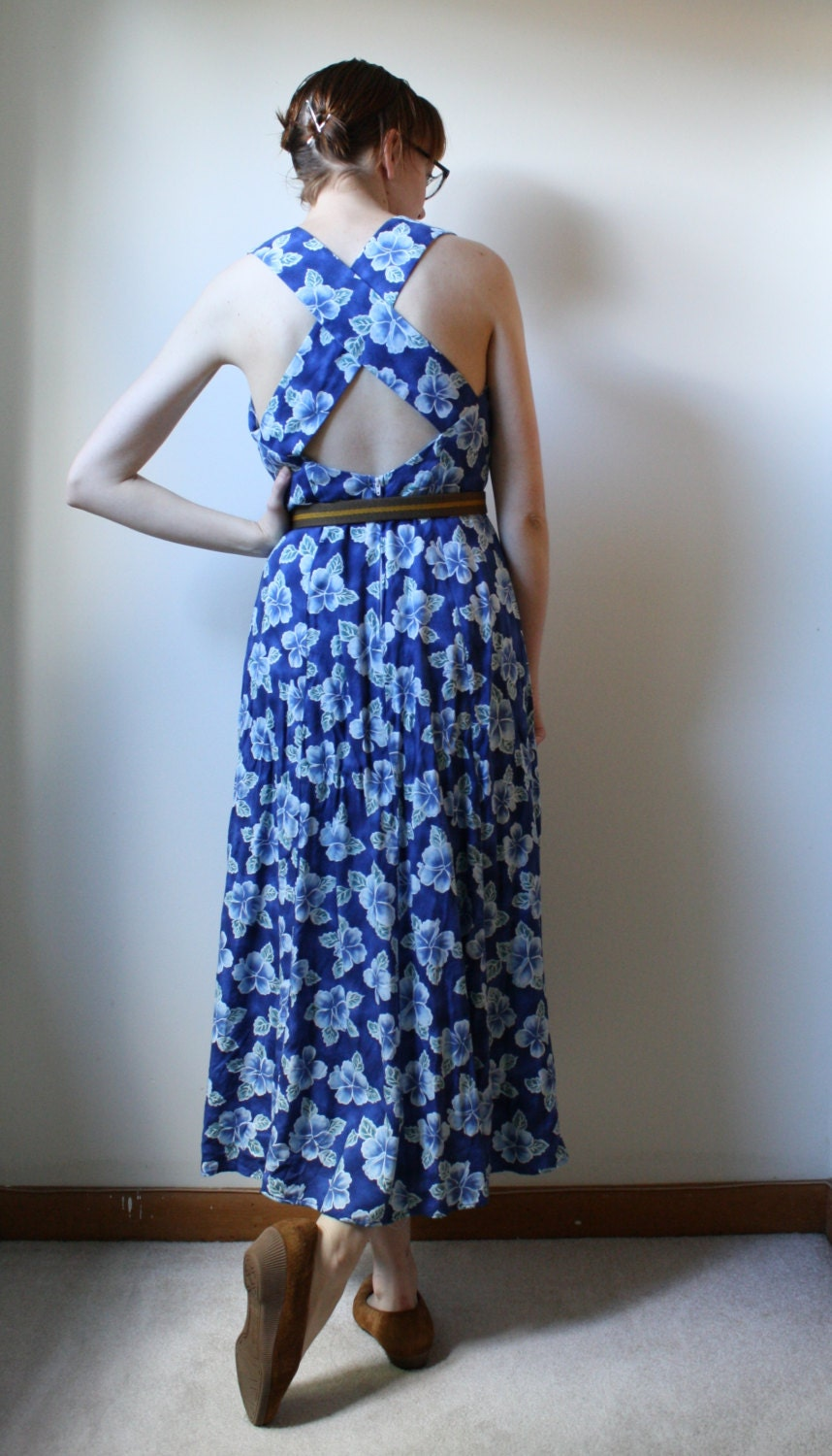 1990s Blue Floral Sundress - Cross Strap Resort Floral Maxi Dress - Womens S M