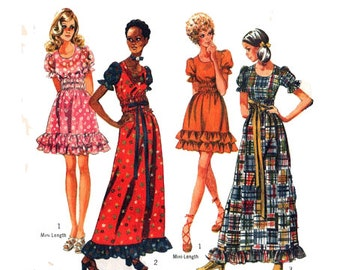 70s MAXI DRESS or MINIDRESS Sewing Pattern Puff-Sleeve Peasant Hippie Boho Prairie Size 10 Bust 32.5 (82 cm) Simpliciity 9403