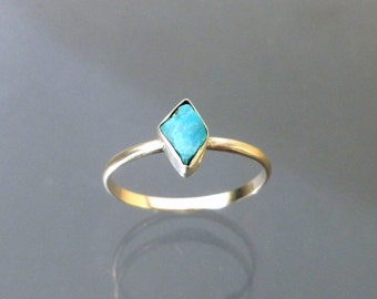 Turquoise Stack Ring Natural Raw Fragment in Recycled Silver  Stackable Ring
