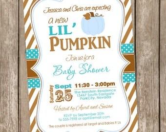 Fall Little Pumpkin boy baby shower invitation, brown, blue, autumn baby shower invitation, typography, printable invitation pumpkin2