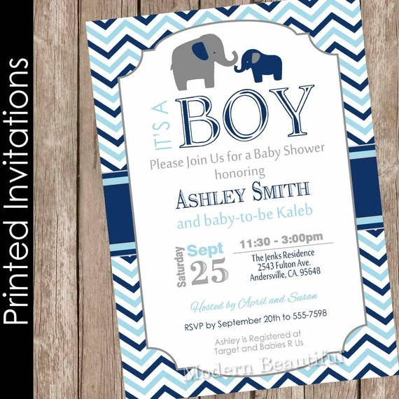 Printed Boy Elephant Baby Shower Invitation Navy And Blue Baby