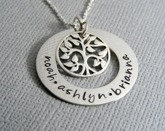 Personalized Family Tree Necklace - Silver Mothers Necklace - Hand Stamped Jewelry - Family Tree Jewelry - Personalized Jewelry - Tree Charm