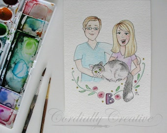 Illustrated Family Portrait with watercolors, hand painted custom created, unique gift for family, pets, newlyweds, etc.