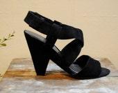 90s Minimal Black Suede Strappy Heels