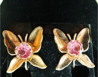 Reduced .......Beautiful Vintage Butterfly Earrings
