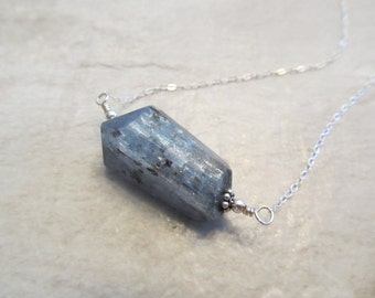 Blue Kyanite Necklace, Sterling Silver, Handcut Faceted Nugget - Lord Snow
