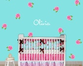 Rose Name Wall Decal Personalized Monogram Kids Wall Decal Nursery Decor