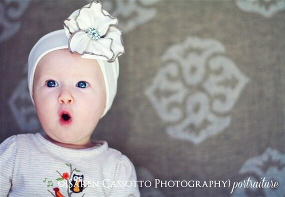 Natural White Jersey Flower Headband - Baby Girl, Newborn, Infant, Toddler