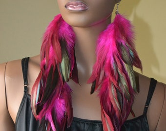 Very Long Pink Feather Earrings