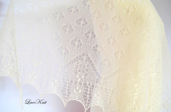 Shawl by Lace Knit design. Hand knitted lace shawl. 100 % pure Cashmere, extra soft and light. Wedding shawl. Ready to ship