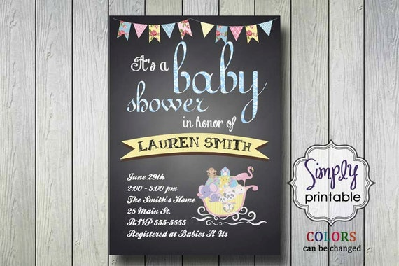 Noah's Ark Baby Shower Invite Blue or Pink