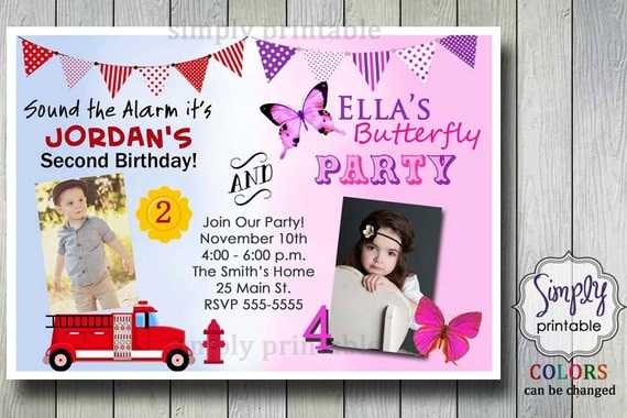 Firetruck Butterfly Joint Birthday Invitation for Boy and Girl – Dual Birthday Party Invitations