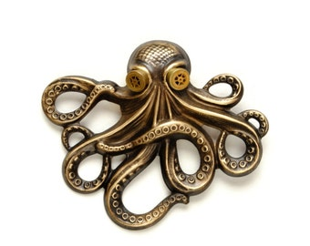 Steampunk Hat Pin Octopus Jewelry Brooch Pin Kraken Cthulhu Jewelry Steampunk Goggles Pirate Steampunk Jewelry By Victorian Curiosities
