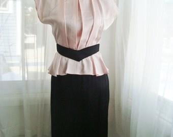 1980's Peplum Dress, Pink and Black Satin Cocktail Dress, Size Extra Small
