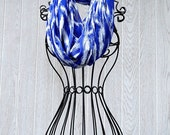 Royal Blue and White Ikat Print Sheer INFINITY SCARF-Office Wear- Fashion Scarf- Statement Scarf by The Accessories Nook