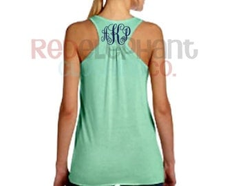Monogrammed Tank Top, Monogram Racerback Tank Top, Monogram Razorback, TankTop, Womens Racerback, Ladies Tank Top, Workout Shirt, Coral,