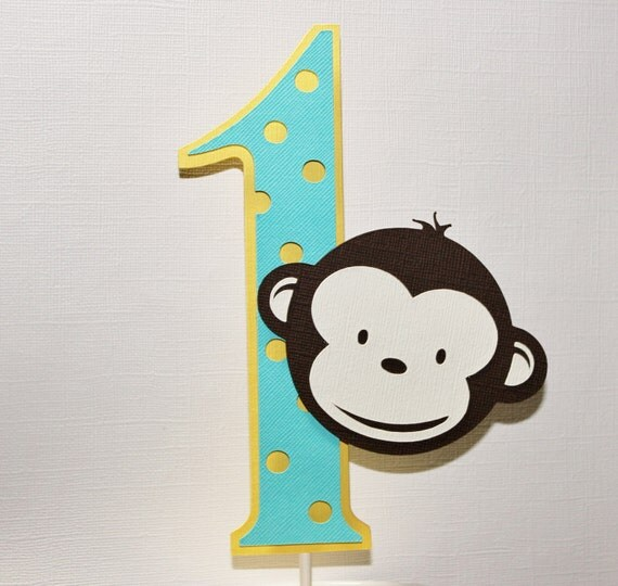 Cake Design Number 1 : Monkey - Number One Cake Topper by Paperlette Designs ...