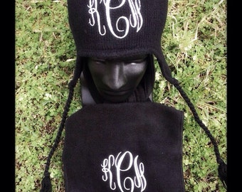 Personalized Embroiderd Monogrammed  Knit Hat with Ear Flaps One Size Fits Most