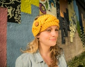 Mustard yellow cable knit headband/earwarmer- with wood button