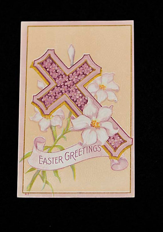 5 Vintage Antique 1900's EMBOSSED EASTER POSTCARDS.. Unused From Album