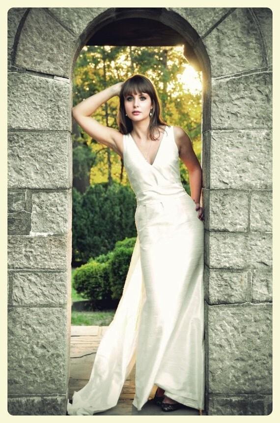 Off White V Neck Shantung Trumpet Simple Wedding Dress